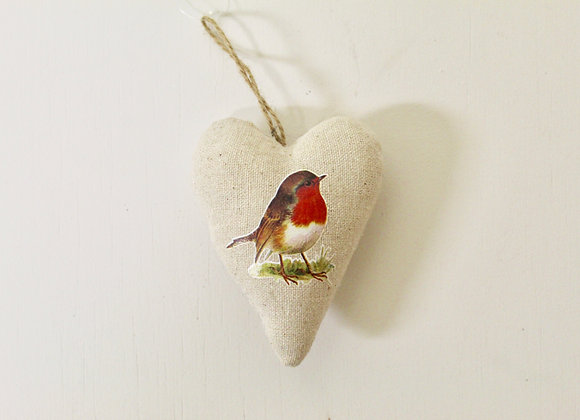 Stuffed Lined Heart with Printed Robin Decoration
