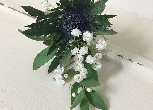 Blue Eryngium & Gypsophila Buttonhole