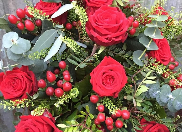12 Red Roses & Wild Berry Mix