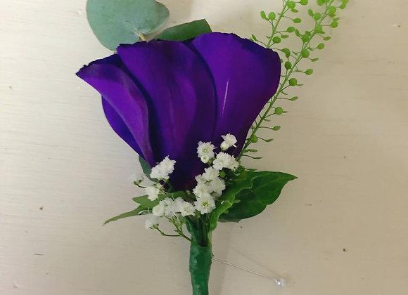 Purple Lisianthus & Gypsophila Buttonhole