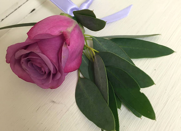 Purple Rose & Eucalyptus Buttonhole