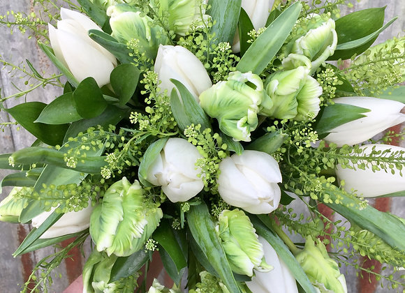 Pure White and Green Tulip Bridal Bouquet