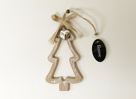 Wooden Christmas Tree with Silver Heart Decoration