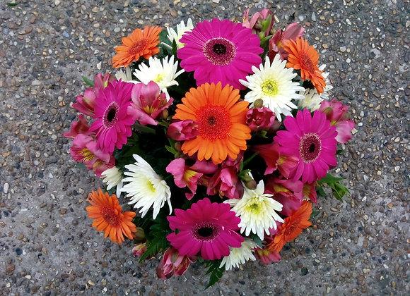 Bright Orange & Pink Funeral Posy