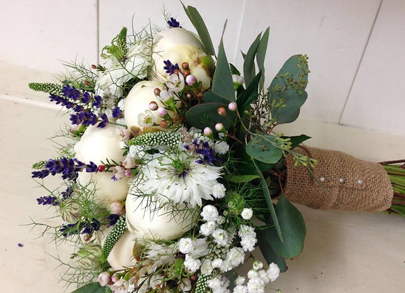 Lavender & Peony Country Bridal Bouquet