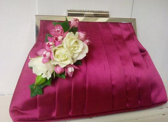 Pink & Cream Corsage on Hand Clutch