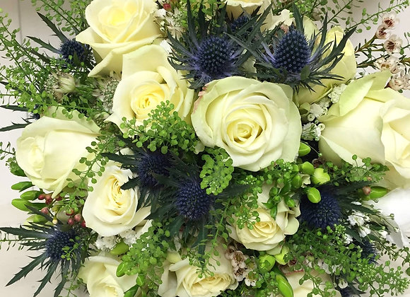 Cream Rose & Eryngium Bridal Bouquet