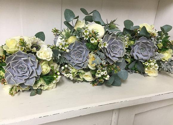 Succulent & Wax Flower Bridesmaid Bouquets