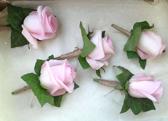 Pale Pink Rose Buttonhole
