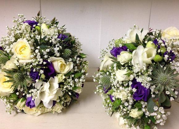 Purple Lisianthus & Gypsophila Bridesmaid Bouquets
