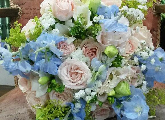 Pastel Rose & Delphinium Bridal Bouquet