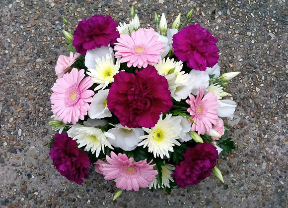 Assorted Pink & White Funeral Posy