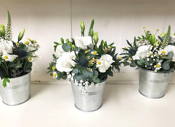 Zinc White Flower Mix Table Display