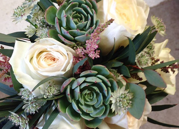 Succulent & White Rose Bridal Bouquet