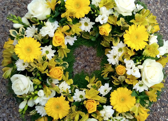 Yellow & White Open Loose Funeral Wreath