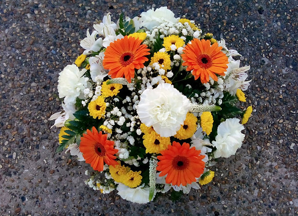 Orange & White Funeral Posy