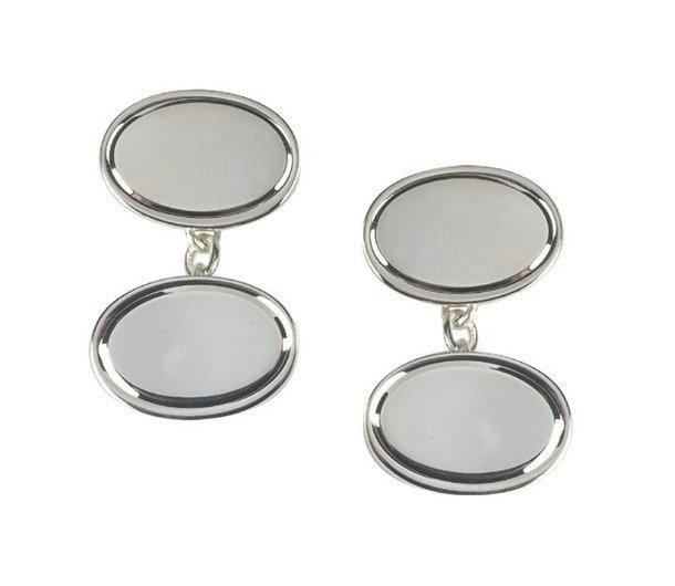 Silver line edge cufflinks