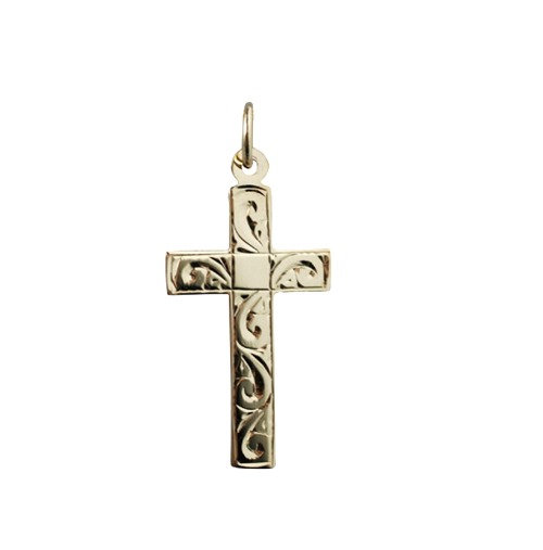 9ct gold hand engraved cross