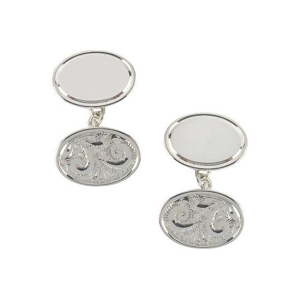 Silver Hand engraved cufflinks
