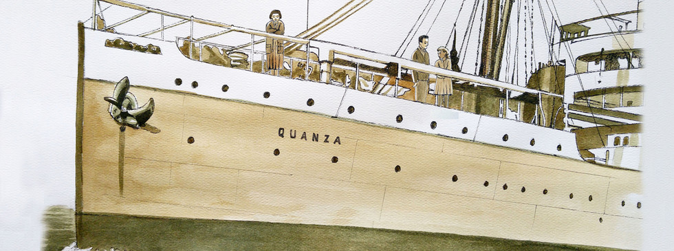 Teenage girl on deck of the Steamship Quanza