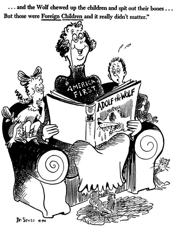 """Dr. Seuss Cartoon """"Adolf the Wolf"""" 1940s"""