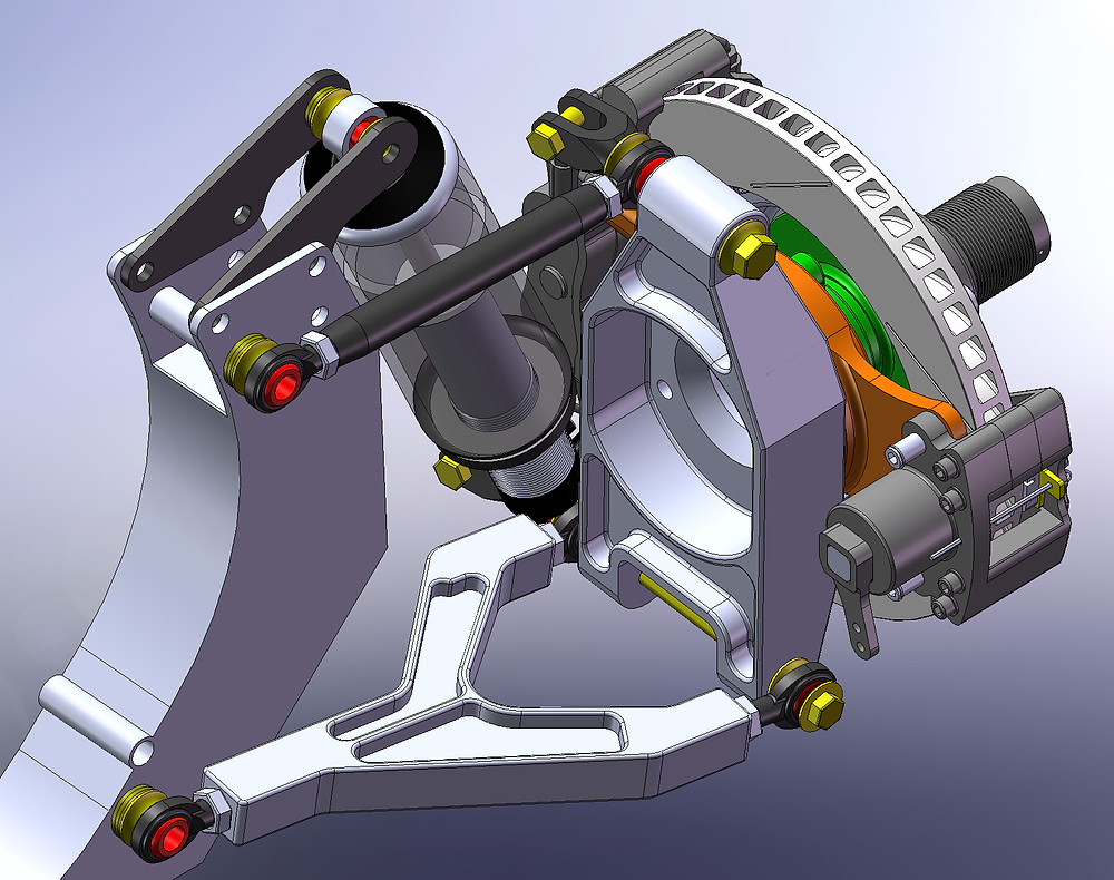 CAD design of the rear suspension upright for the GT40 showing the handbrake caliper mount.