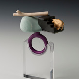 """""""Time out""""  Ring  2013 Gold plated silver, bronze, anodized aluminum, bird eye maple wood, graphite,  and rock.  3""""(L) x 2.5"""" (W) x 4"""" (H)"""