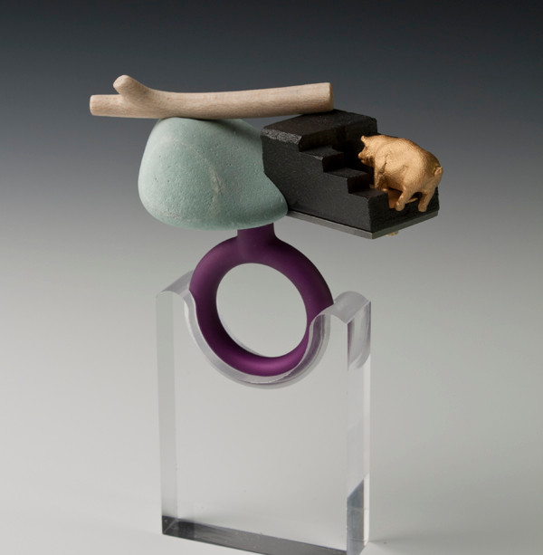 """Time out""  Ring  2013 Gold plated silver, bronze, anodized aluminum, bird eye maple wood, graphite,  and rock.  3""(L) x 2.5"" (W) x 4"" (H)"
