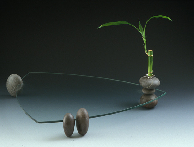 """Plate    2001 Glass, rock, silver, and lucky bamboo.  17.7"""" (L) x 17.7""""(W) x 9"""" (H)"""