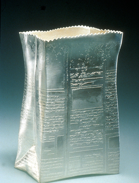 """Container1989 Electroformed, fabricated and silver-plated.   Silver and copper. 6.3""""(L) x 2.8""""(W) x"""