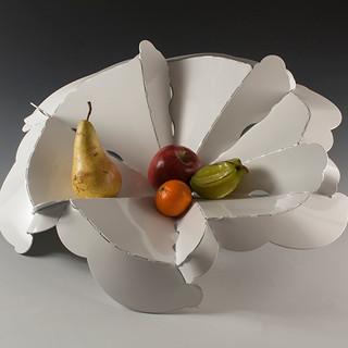 "Fruit bowl           2013-14 Aluminum, FDA approved food-safe powder coat. Folded from one sheet of metal  20.5"" diameter."