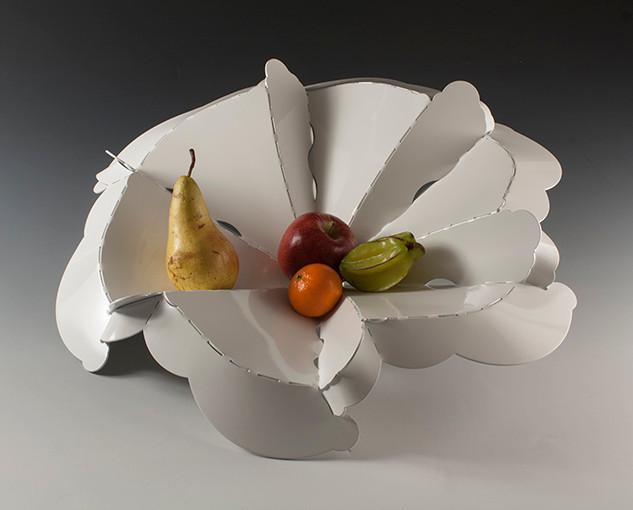 "Fruit bowl           2013-14 Aluminum, FDA approved food-safe powder coat. Folded from one sheet of metal  20.5"" diameter."