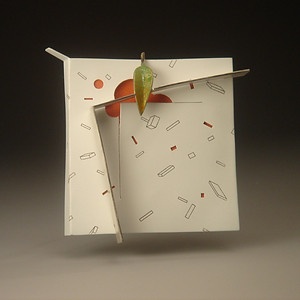 "Untitled Brooch   2008 Silver, enamel, acrylic paint, laser printer ink. 3""(L) x .5""(W) x 3""(H)"
