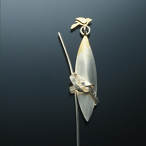 """""""Measuring this, Measuring that. #1""""  Brooch      1997 Silver, copper, and gold plated.  1.2"""" (L) x 0.4"""" (W) x 3.7""""(H)."""