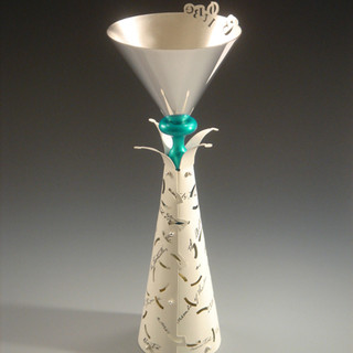 "Goblet   	2007 Silver, brass, anodized aluminum, river rock, laser printer ink, and  acrylic Paint. 3.6"" (L) x 3.6"" (W) x 8.3"" (H)."
