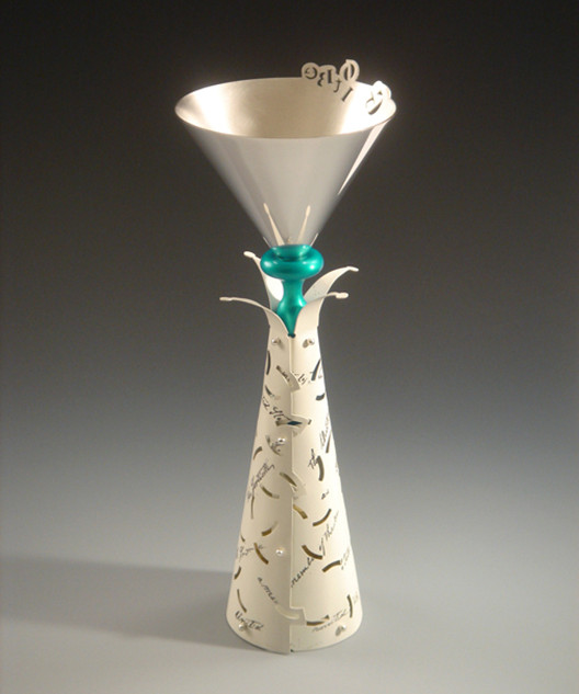 """Goblet   2007 Silver, brass, anodized aluminum, river rock, laser printer ink, and  acrylic Paint. 3.6"""" (L) x 3.6"""" (W) x 8.3"""" (H)."""
