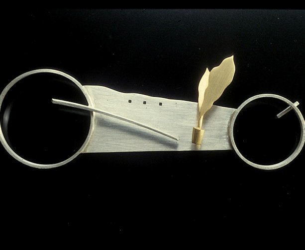 "Untitled Brooch         1992 Silver and gold-plated.  4.1"" (L) x 0.25"" (W) x 1.4"" (H)"
