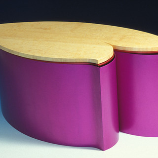 "Table     2003 Bird-eye maple and anodized aluminum.  34.3"" (L) x  15"" (W) x  5.7"" (H)"