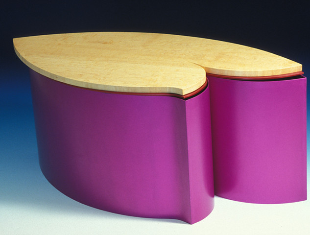 """Table     2003 Bird-eye maple and anodized aluminum.  34.3"""" (L) x  15"""" (W) x  5.7"""" (H)"""