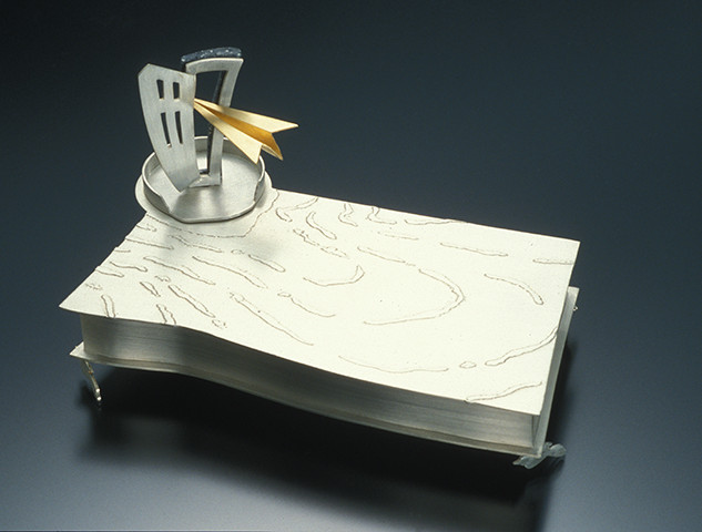 """Box 1995 Silver, Corian, and gold plated.  5.1"""" (L) x 3.9""""(W) x 4.3"""" (H)."""