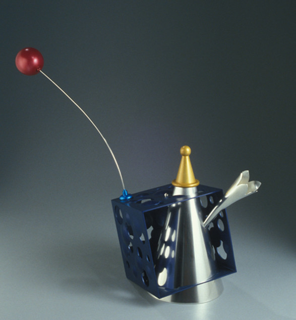 """Teapot 2003-4 Gold, silver, stainless steel, and anodized aluminum.  8.3"""" (L) x 5.5"""" (W) x 7.1"""" (H)."""