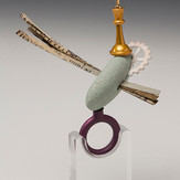 """""""That's how things work! #1""""  Ring   2014 Gold plated bronze, anodized aluminum, bird eye maple wood, and rock.  3""""(L) x 3"""" (W) x 4"""" (H)"""