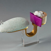 """""""Planning an idea"""" Ring  2012 Anodized aluminum, maple wood, brass, Delrin, rock, acrylic paint, laser printer ink, and clear acrylic.  3.7""""(L) x 1.1"""" (W) x 4.5"""" (H)"""