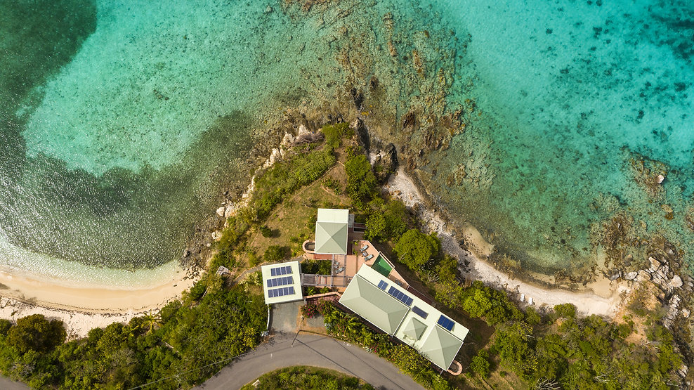 Beachfront Vacation Rental Villa in St. John USVI Virgin Islands VI - Aerial View of East of Eden St. John
