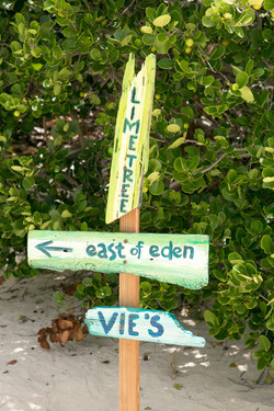 White Sand Beach Sign