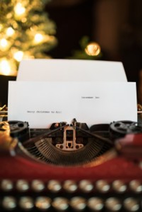 Merry Christmas to All Letter in Vintage Red Typewriter