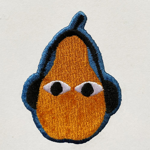 Badge Pear with headphones