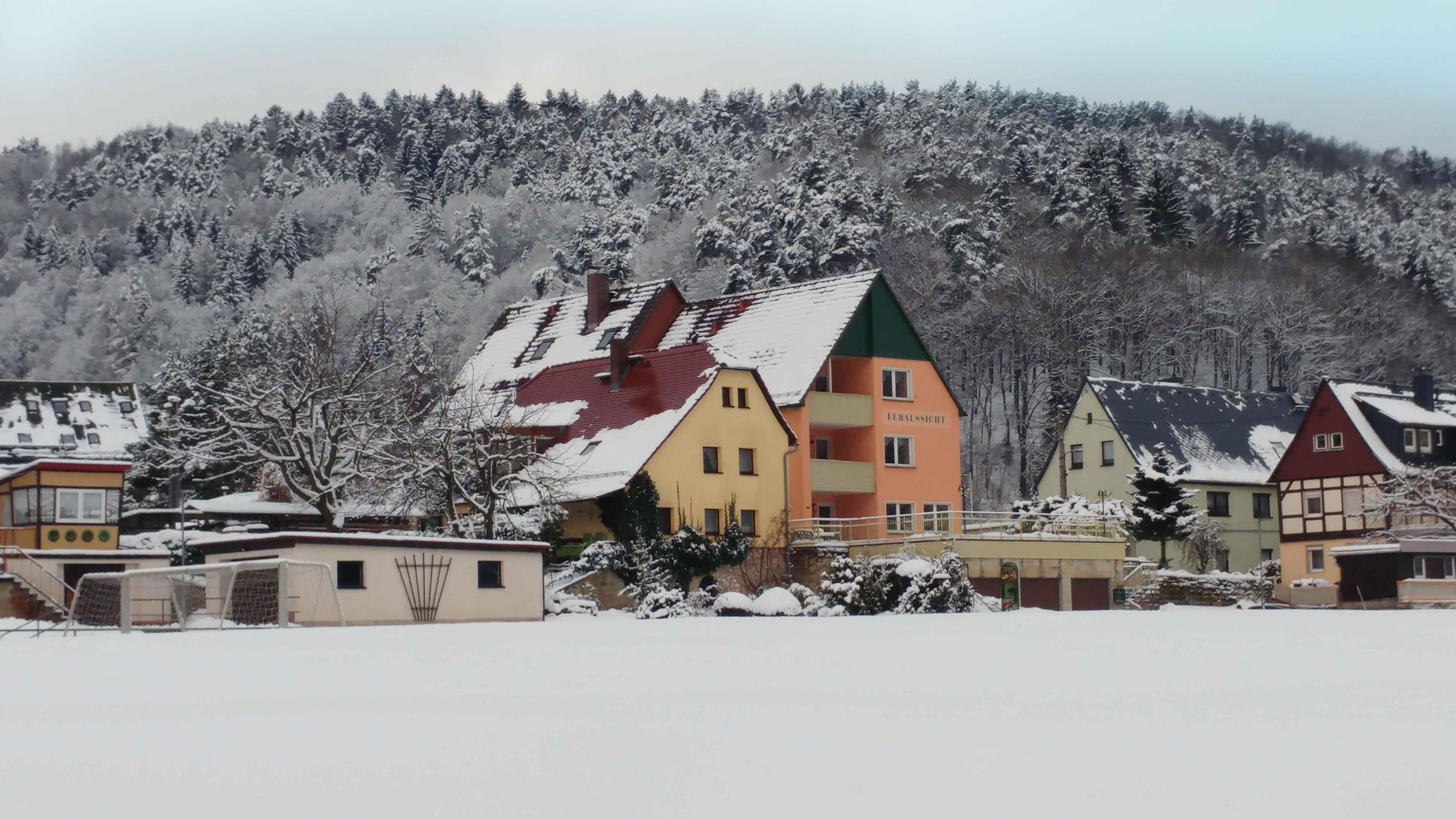 Blick zur Elbaussicht im Winter