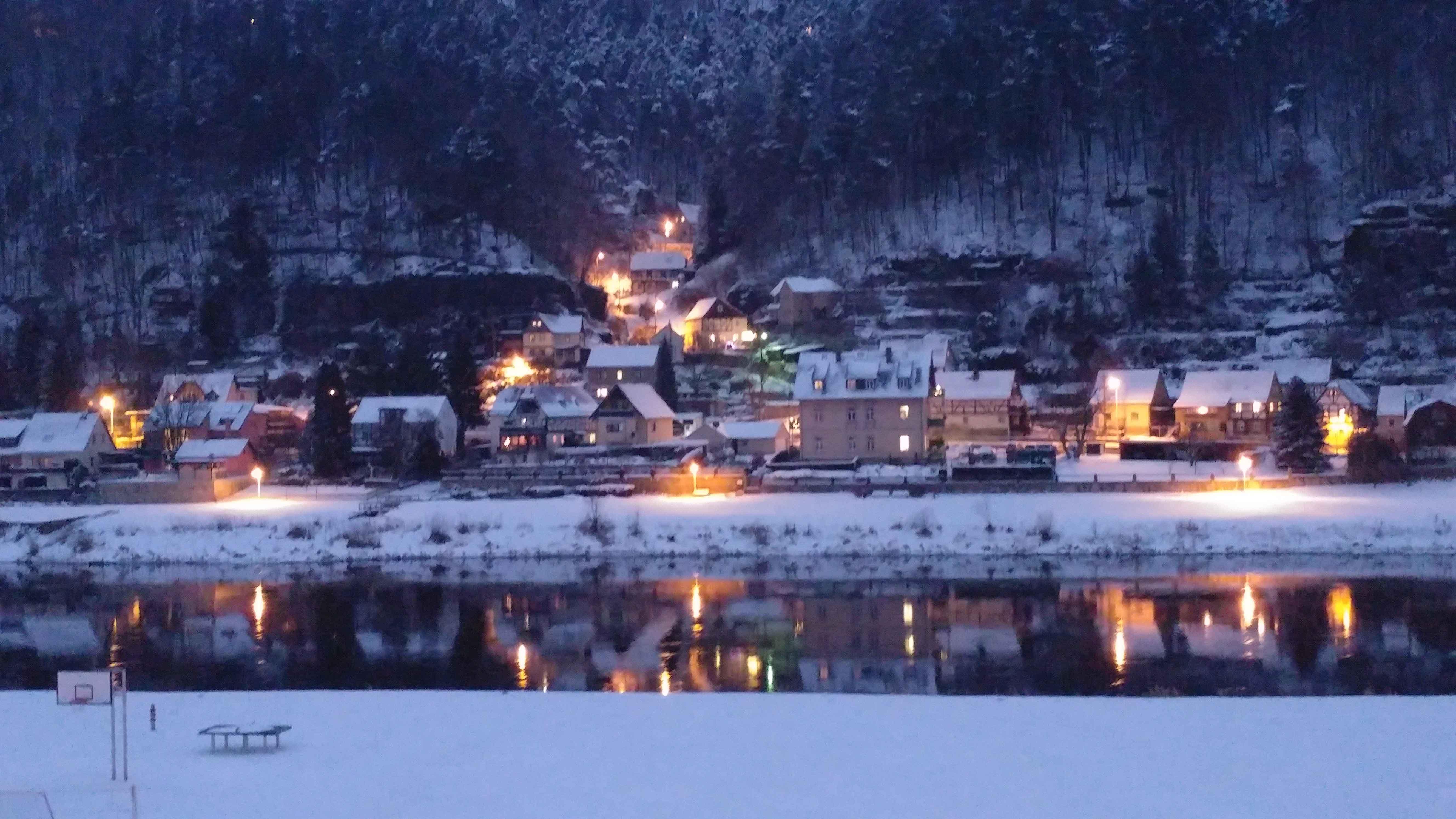 Winterblick von der FeWo Lilienstein