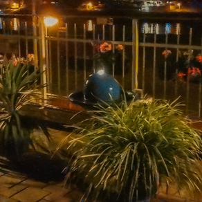 Abends auf der Terrasse der Elbaussicht - Krippen